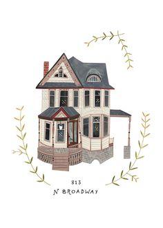 Custom illustrated house portrait, Rebekka Seale