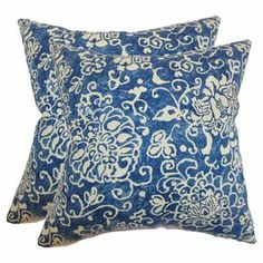 """Cotton pillow with a damask-inspired motif. Made in Boston, Massachusetts.  Product: PillowConstruction Material: Cotton cover and high-fiber polyester fillColor: BlueFeatures:  Insert includedHidden zipper closureMade in Boston, MA Dimensions: 18"""" x 18""""Cleaning and Care: Spot clean"""
