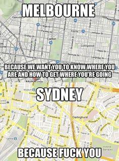 Sydney versus Melbourne - Australia - true that! Australia Funny, Visit Australia, Sydney Australia, Australian Memes, Aussie Memes, Most Hilarious Memes, Funny Memes, It's Funny, Adventure Awaits