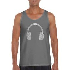 Los Angeles Pop Art Men's Tank Top - 63 Different Genres Of Music, Size: Medium, Gray