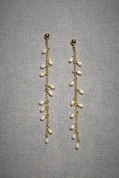 Materials: short, thin length of chain, fish hooks earring pieces, headpins or jump rings, fake pearl beads