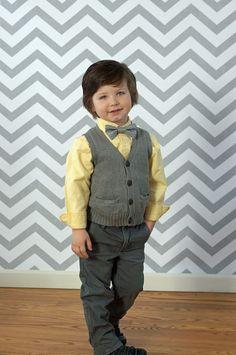 Gray Chevron  Bow Tie Easter BowTie Photography Prop for Boys Tie - Toddler Tie. $9.00, via Etsy.