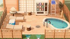 r/AnimalCrossing - It's no infinity pool but I'm still happy with it! Animal Crossing 3ds, Animal Crossing Wild World, Animal Crossing Qr Codes Clothes, Animal Crossing Pocket Camp, Horizon Pools, Infinity Pool, Ac New Leaf, Motifs Animal, Pool Lounge