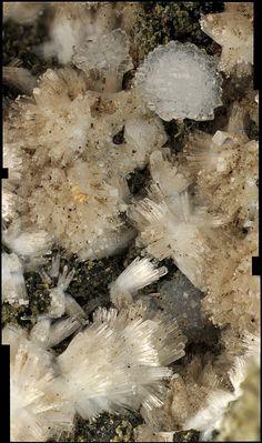 Cantera Arzollar  Natrolita y phillipsita. Encuadre 3 mm. Col. Museo de Ciencias Naturales de Álava MCNA 15094 DONADO J.A. Sanz Real, 2015 (Fot. E. Ortiz de Zárate)