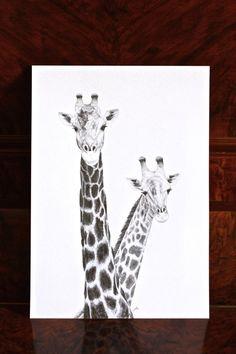 Giraffe Pencil Drawing by ArtStuffByJess