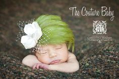 Gorgeous Vintage Kiwi Green Feather Pad by CoutureBabyHeadbands, $22.99