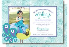 Peacock Birthday Photo Invitations by DelightPaperie on Etsy, $20.00