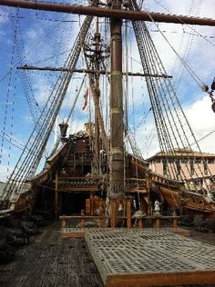 Looking towards the stern on the Neptune.  Ideas for pirate ship inside my museum. #pirates