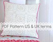 PDF Crochet Pattern Popcorn and Lace Square US door MyRoseValley