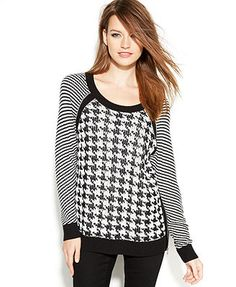 TWO by Vince Camuto Mixed-Stitch Houndstooth Sweater
