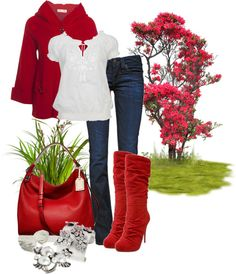 """Loving Those Red Boots!"" by deborah-simmons ❤ liked on Polyvore"