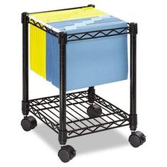 Safco 5277BL - Compact Mobile Wire File Cart, 1-Shelf, 15-1/2w x 14d x 19-1/2h, Black-SAF5277BL by Safco. $58.20. Sturdy steel wire construction with scratch-resistant powder coat finish. Hanging file frame holds letter or legal size folders. Handy bottom shelf for supplies. Rolls easily on four swivel casters (two locking). Tucks neatly under most worksurfaces when not in use. Color(s): Black; Width: 15 1/2 in; Depth: 14 in; Height: 19 1/2 in.. Save 39% Off!