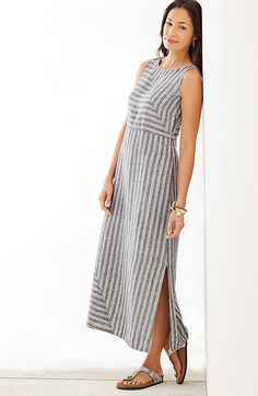 long striped linen dress The linen you love in a sleeveless, Empire-waist pullover dress. Simple Dresses, Casual Dresses, Fashion Dresses, Summer Dresses, Linen Dresses, Cotton Dresses, Stripped Dress, Renaissance Clothing, Striped Linen
