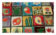 Tocetos cuerda seca!!!! Clay Tiles, Ceramic Clay, Ceramic Pottery, Pottery Painting, Ceramic Painting, Clay Crafts, Arts And Crafts, Clay Wall Art, Handmade Tiles