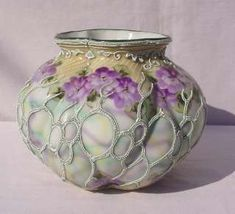 Oriental China Nippon Moriage Purple Lilacs Floral Bowl Vase