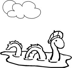 Coloring Nessie, the Loch Ness monster picture. Print this drawing for your kids. Coloring Pages For Grown Ups, Monster Coloring Pages, Colouring Pages, Monstre Du Loch Ness, Scottish Tattoos, Monster Pictures, Monster Tattoo, Monster Crafts, Monster Birthday Parties