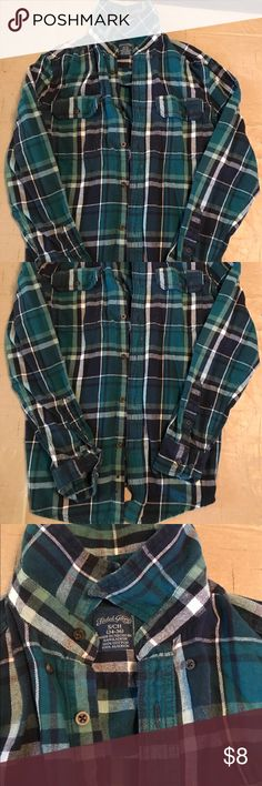 Flannel Shirt Plaid Long Sleeve - Faded Glory Blue/green plaid.  Worn once.  No holes, tears or stains.  All buttons work.  Smoke free home. Faded Glory Shirts