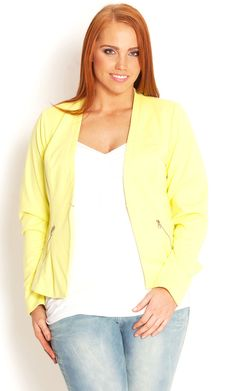 Compliment almost any outfit this season with our attention grabbing Miss Zesty Jacket. This beautifully lined jacket features full length sleeves with zip trim on the cuff, lightly padded shoulders, single hook and eye fastening at centre front and Plus Size Womens Clothing, Plus Size Outfits, Trendy Outfits, Plus Size Fashion, Fashion Outfits, Glamorous Evening Gowns, Line Jackets, Women's Jackets, Feminine Style
