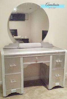 Faux Silver Leaf Art Deco Vanity with Rustoleum metallic spray paint - beautiful DIY furniture makeover!