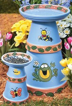 Cute Clay Pot Bird Bath and Feeder With Frogs - Clay Pot Crafts