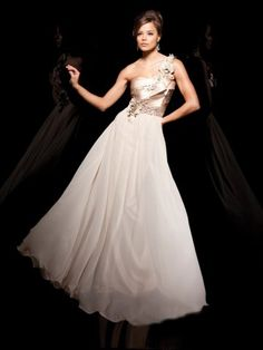 2012 Style A-line One Shoulder Hand-Made Flower Sleeveless Floor-length Chiffon Champagne Prom Dress / Evening Dress