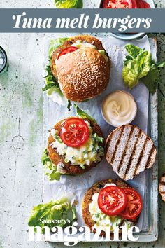 These thrifty fishcake-style burgers are made with tinned tuna - a speedy midweek meal for the whole family Tinned Tuna Recipes, Fish Recipes, Healthy Recipes, Healthy Meals, Yummy Recipes, Dinner Recipes, Healthy Eating, Tuna Melts, Midweek Meals