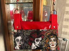 Sac ChaChaCha rouge motif Dia de los muertos cousu par Marie - Patron Sacôtin