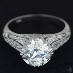 2.00ct Platinum and Diamond Engagement by EstateDiamondJewelry, $28,500.00 #vintage #antique #diamond #engagement #ring
