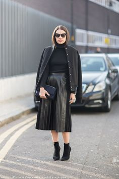 I'm so into the pleated midi. #leather #skirt #style