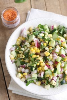 Thai Corn Salad with Sriracha Sea Salt #recipe #summer