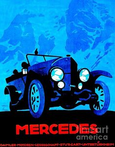 Antique Mercedes 1914 28/95 German poster by Ludwig Hohlwein.