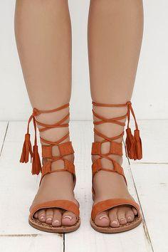d9fe651bf89bc7 Soledad Canyon Burnt Orange Lace-Up Flat Sandals at Lulus.com! Flat Sandals