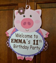 Pig Birthday Party Door Sign 3D  CUSTOM Message by bcpaperdesigns, $10.00