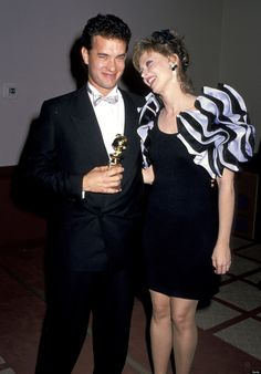 Tom Hanks and Shelley Long at the 1988 Golden Globes.