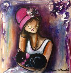 Original painting  Portrait Art Deco Dam Domido cat katze oil  30x30 cm de la boutique DamDomidoATELIER sur Etsy