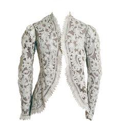 1910's Edwardian Handmade Ivory Creme Battenburg-Lace Jacket ❤ liked on Polyvore featuring outerwear, jackets, vintage, cream jacket, white lace jacket, ivory lace jacket, white winter jacket and lace jacket