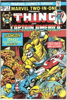 Marvel Two in One 4 comic book. Captain America from the Avengers and The Thing, Fantastic Four. Marvel Comics from 1974 in FN+ (6.5)
