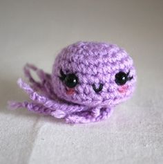 Little Amigurumi Jellyfish - Purple ~  It's your choice...MAKE this effing jellyfish or I will find a crochet gun and hunt you down and blower your other knitted animals little yarn brains out.  Kapeech?