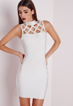 Missguided - Premium Grid Yoke Bandage Bodycon Dress White