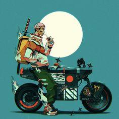 Character Concept, Character Art, Concept Art, Character Design, Motorcycle Art, Motorcycle Design, Car Illustration, Character Illustration, Arte Cyberpunk