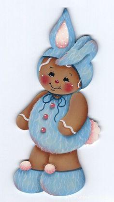 HP GINGERBREAD Bunny FRIDGE MAGNET #Handpainted