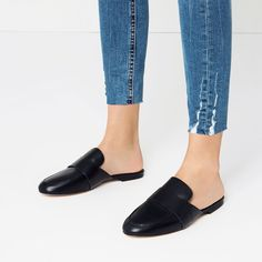 Zara Leather Slides / Loafers with Strap NWT Size 40