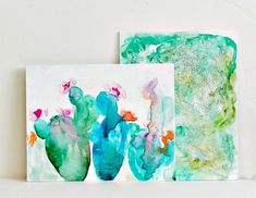 Abstract Watercolors on Canvas