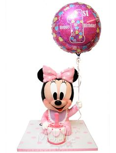 """Celebrating Phoebe's 1 year old, I created Minnie Mouse Sponge Cake decorated with a large balloon. Here is what the client's says: """"Hel. Minnie Mouse Cake Topper, Mickey Mouse Cake, Wedding Cake Images, Cupcake Cakes, 3d Cakes, Sculpted Cakes, Large Balloons, Character Cakes, Mickey Party"""