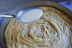 If you are not Greek and you have no idea what Bougatsa is, you can read a description here. For this post, I write 'Bougatsa' with inverted commas because this is not ACTUALLY 'Bougatsa' but my fa. Greek Sweets, Greek Desserts, Desserts To Make, Greek Recipes, Bougatsa Recipe, Cake Recipes, Dessert Recipes, Filo Pastry, Aunt