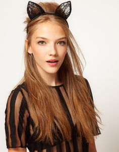 Asos Black Cat Ears Lace Headband