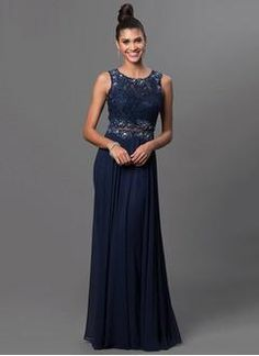 A-Line/Princess Scoop Neck Floor-Length Chiffon Lace Prom Dress With Beading Appliques Lace - Alternative Measures