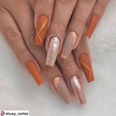 In seek out some nail designs and ideas for your nails? Here is our listing of must-try coffin acrylic nails for stylish women. Perfect Nails, Fabulous Nails, Gorgeous Nails, Cute Nails, Pretty Nails, My Nails, Fall Nail Art Designs, Acrylic Nail Designs, Orange Nail Designs