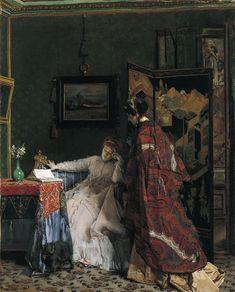 Alfred Emile Leopold Stevens, The Visit, c.1867. Oil on canvas