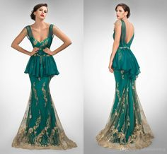 Wholesale Evening Dresses 2014 - Buy LK Extinctive Peplum Green Mermaid Lace Evening Formal Gowns 2014 Gold Appliqued See Through Capped Sleeve V Backless Celebrity Prom Dress, $130.06 | DHgate